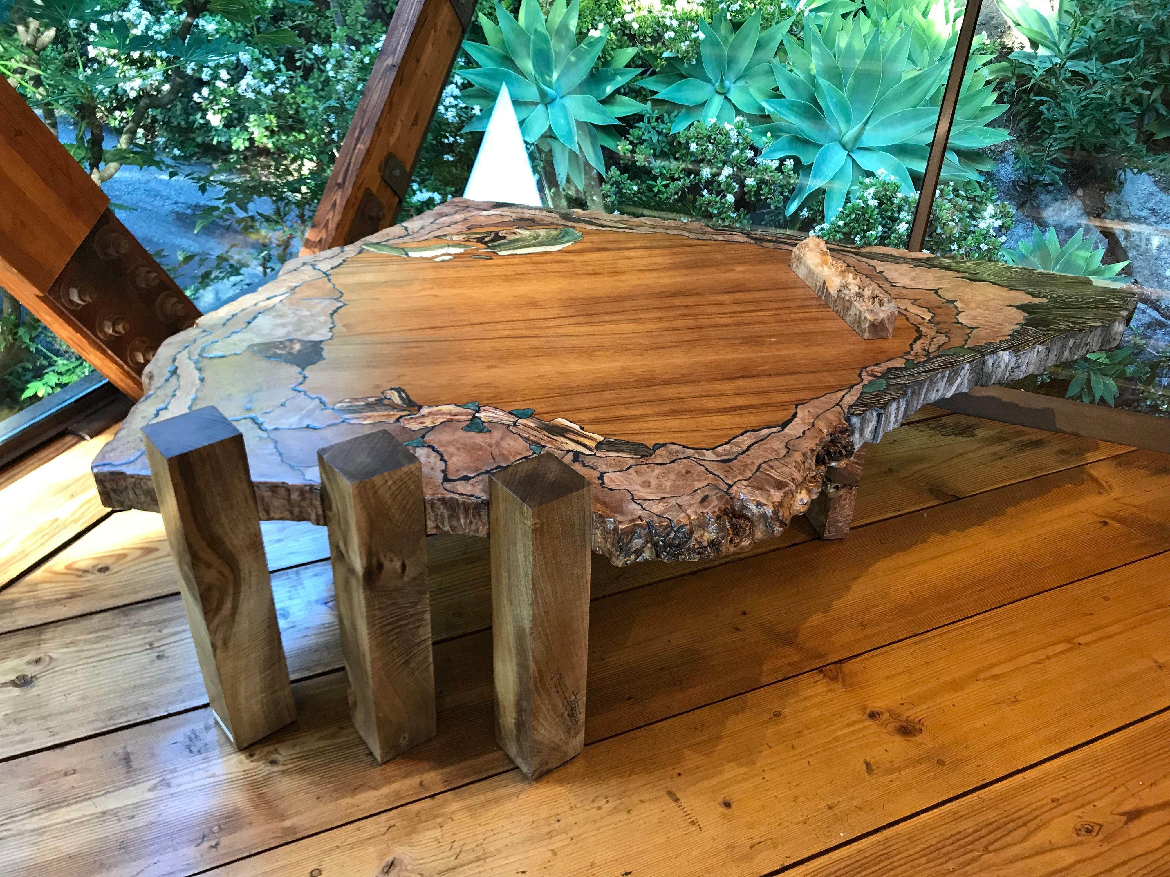 Coffee Table By John Arenskov Maple Redwood Myrtle Koa Wenge Larsonite Functional Art Gallery Big Sur [ 3024 x 4032 Pixel ]