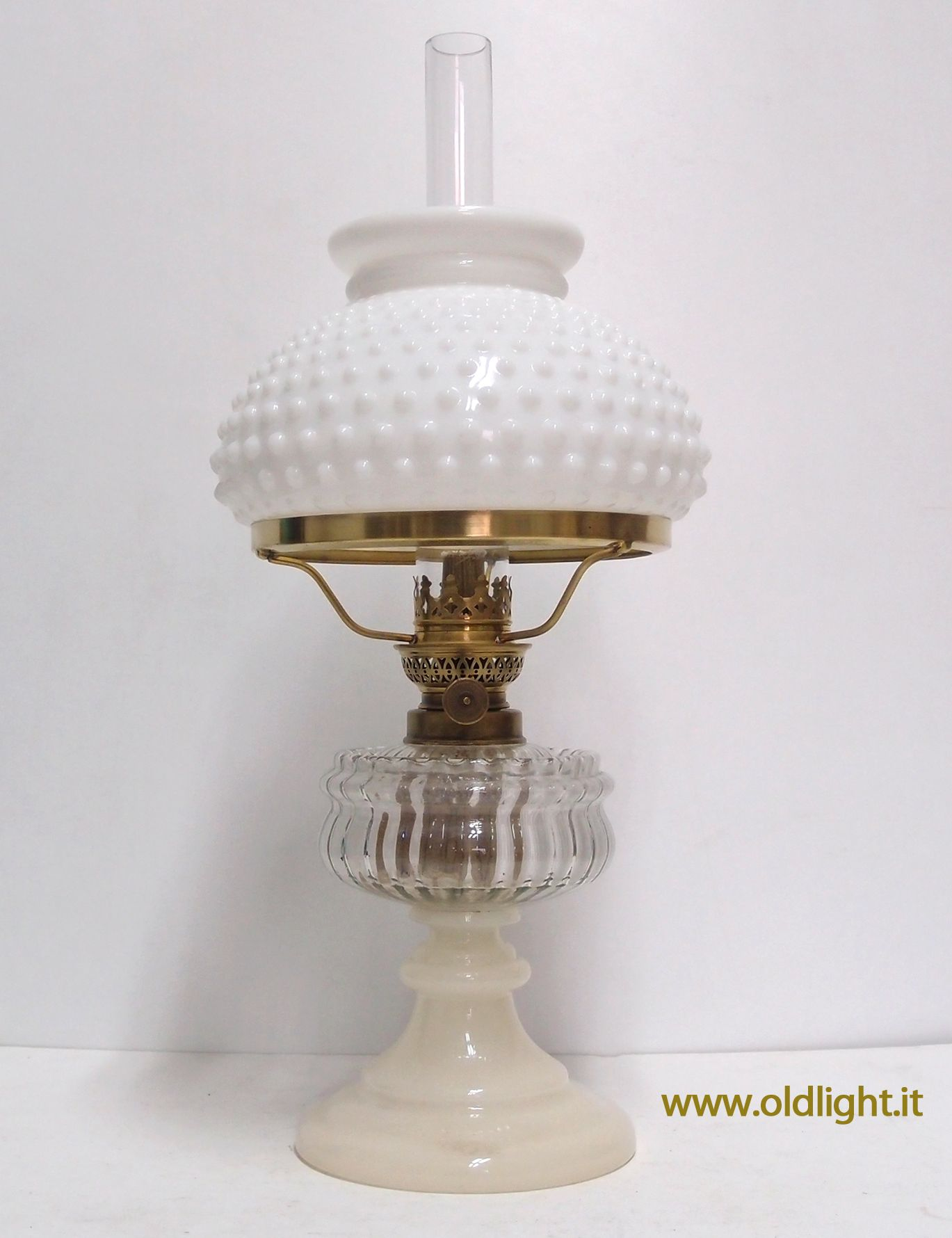 Lampada in opaline e vetro trasparente ( rara e pregiata combinazione ); para...