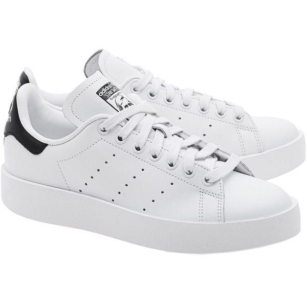 Disparidad Nominación Traición  ADIDAS ORIGINALS Stan Smith Bold White // Flat leather sneakers ($140) ❤  liked on Polyvo…   White leather shoes, Adidas originals stan smith, White  leather sneakers