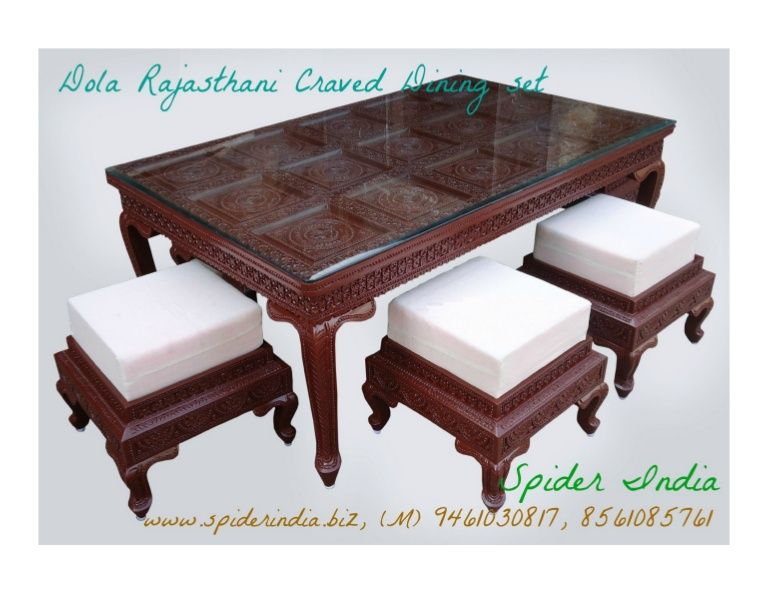 Low Hight Rosewood Fine Carved Dining Table With Puffy Teak Wood