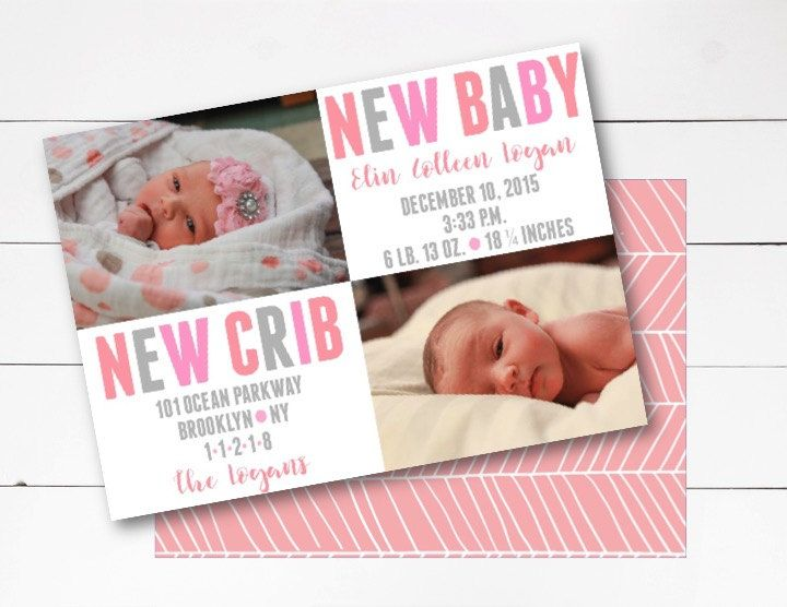 New Baby New Crib Announcement, Birth Announcement, Moving