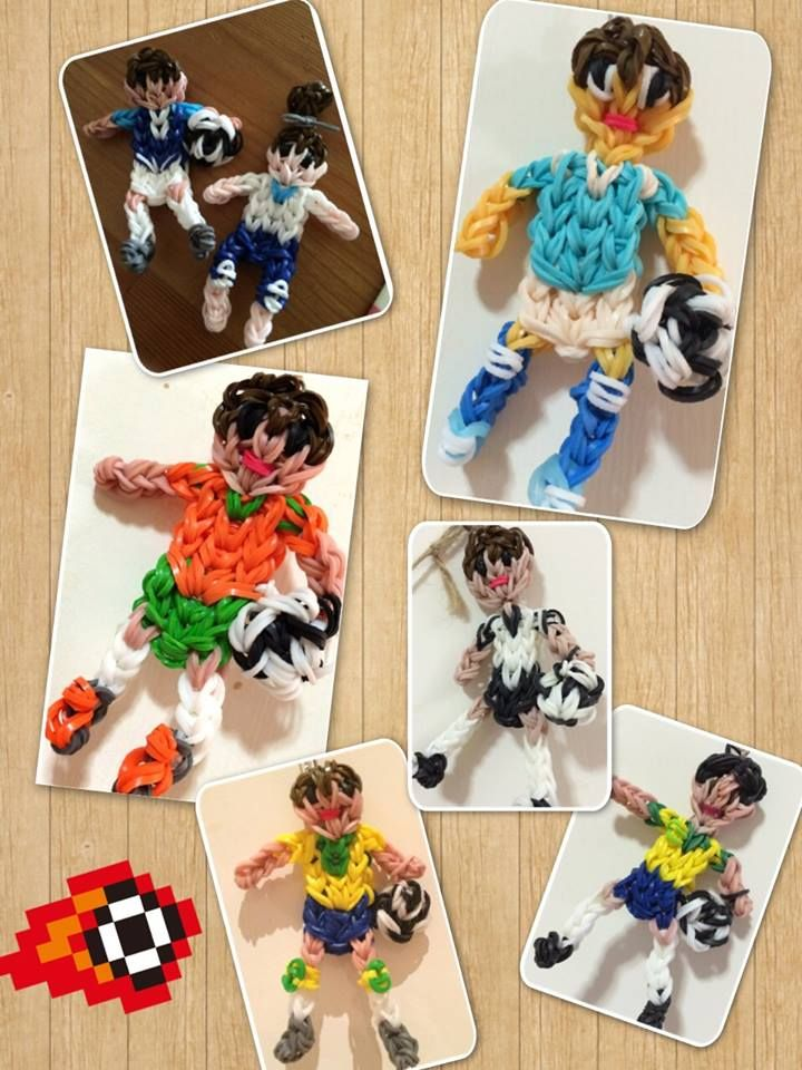 World Cup football players loomed by Aille Chang. Rainbow Loom FB page. 06/20/14.