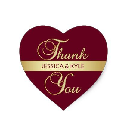 Personalized heart burgundy gold wedding heart sticker gold weddings wedding stickers and weddings