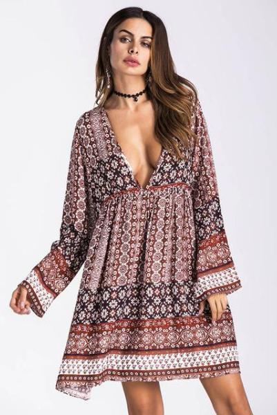 9e6319d53b Boho Chic Sundress Tunic V Neck Mini Dress