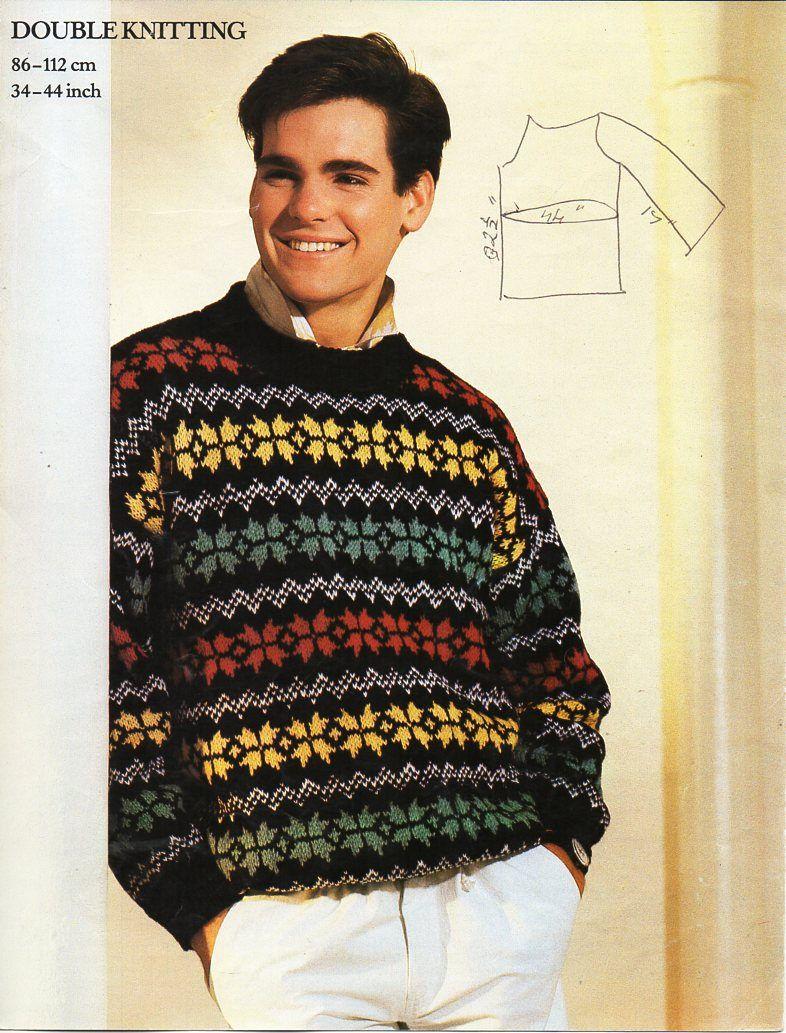 7e72afdad mens fair isle sweater knitting pattern pdf mens fairisle jumper 34-44