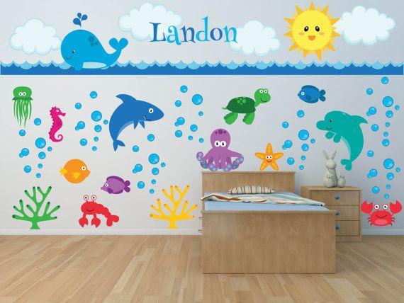 Delightful Nursery Wall Decals   Sea Animal Wall Decal   Ocean Wall Decals   Name Wall  Decal   Fish Wall Decal   Sea Animals  Ocean Animals Decal | Animal Wall  Decals, ...