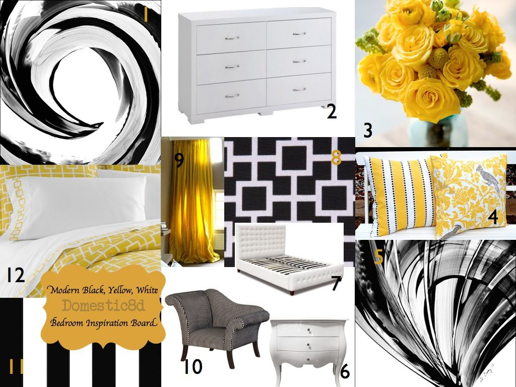 Black And White And Yellow Bedroom black white yellow | modern black, yellow, white bedroom | color