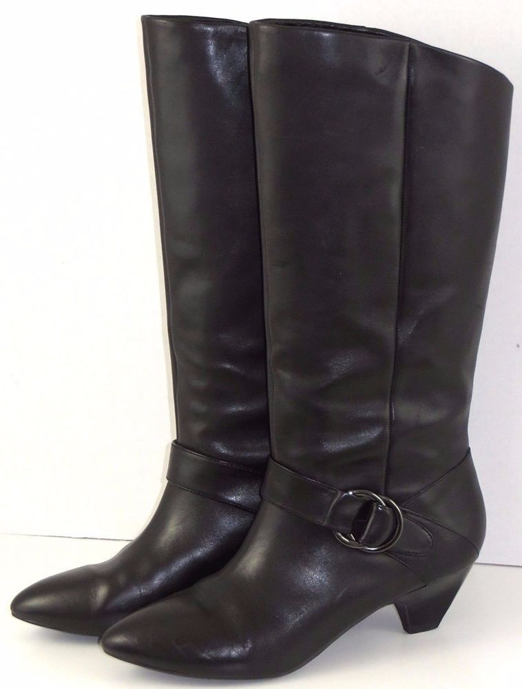 Womens Tall Career Dress Boots Black Leather Pull On Marc Fisher ...