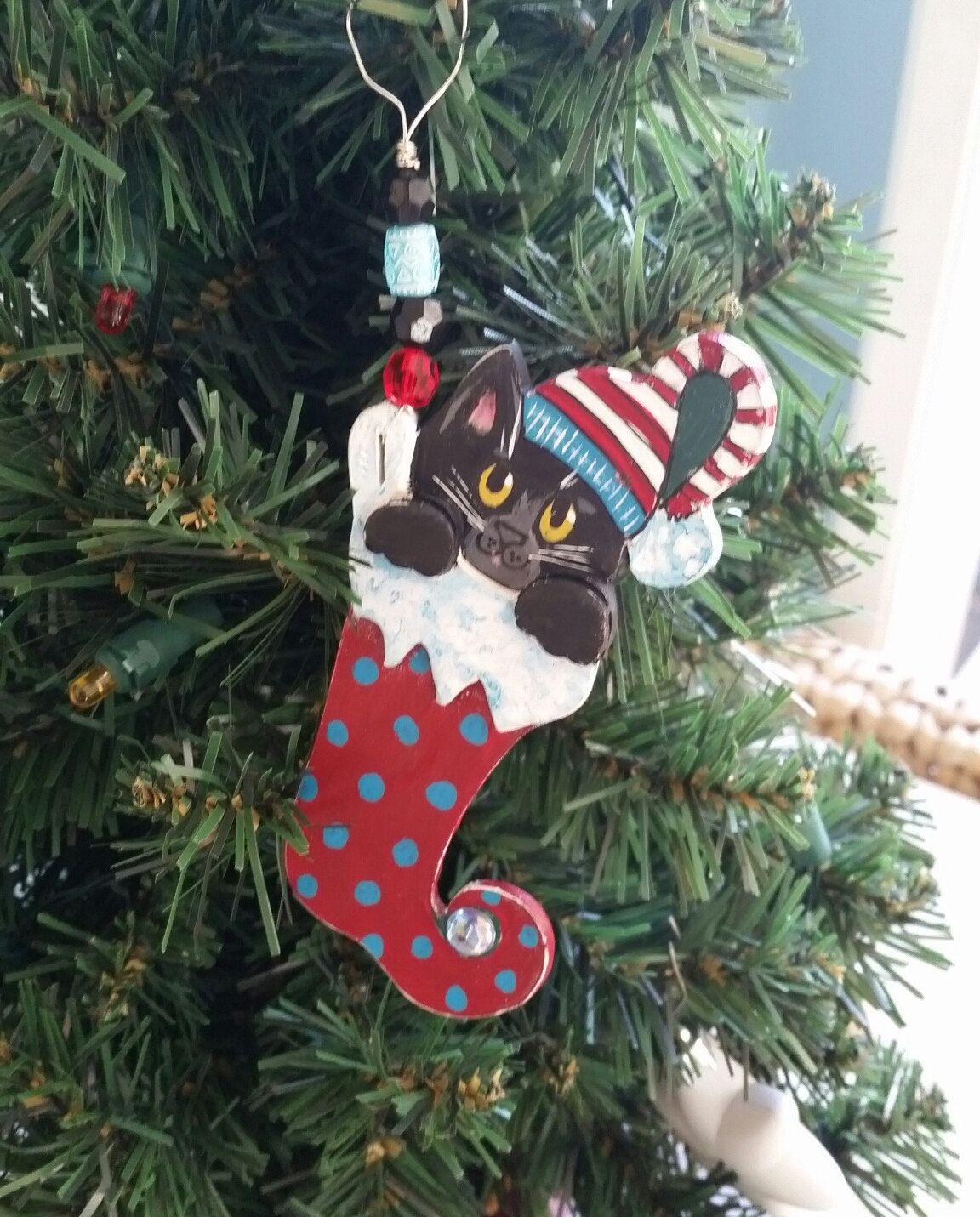 Cat in a Hat Elf Stocking Ornament Black Cat Ornament