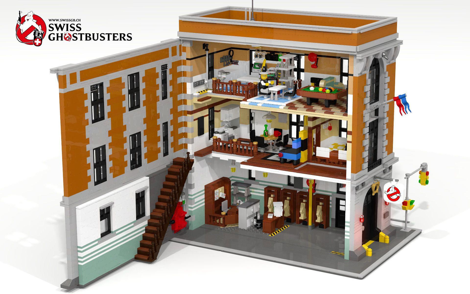 Lego Ghostbusters Hq Custom Moc With Lights Lego Licensed Lego Lego Modular Ghostbusters