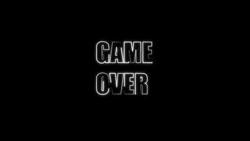 Game Over Neon Letters Glowing Stock Footage Video