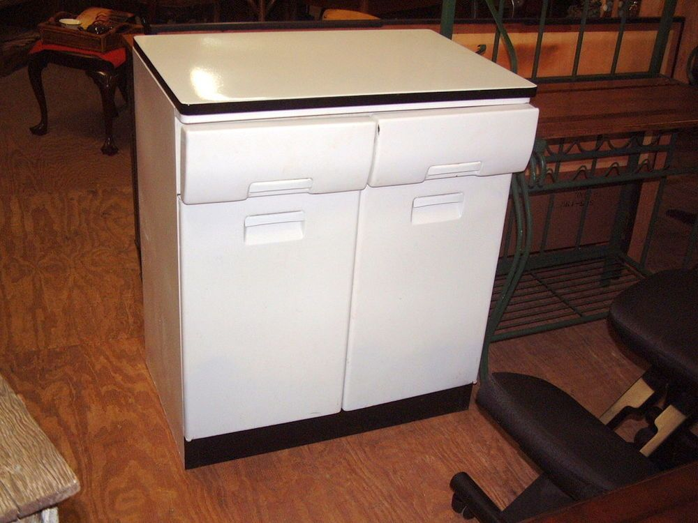 Vintage 1950's Kitchen Metal Cabinet with 2 Drawers ...