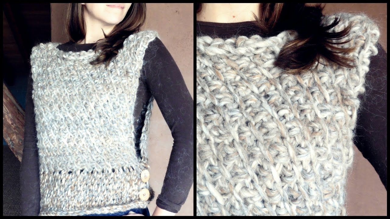 Cómo tejer un CHALECO a crochet en PUNTO TUNECINO diagonal | Ahuyama ...