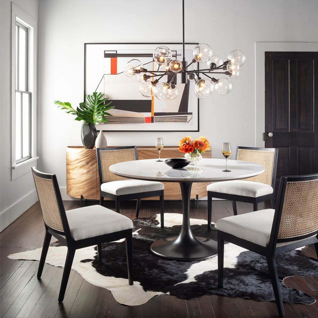 Black And White Cowhide Rug Round Dining Table Dining Table Appartment Decor