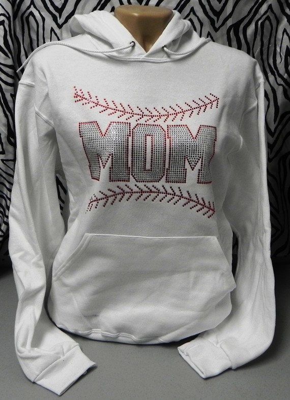 Baseball Mom with Stitching Ladies Rhinestone Sweat Shirt Hoodie on Etsy, $39.99