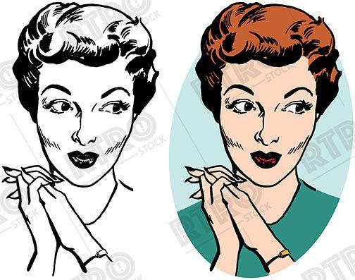 woman with pursed lips looking please vintage retro clip art clipart rh pinterest com vintage retro clipart woman Vintage Clip Art