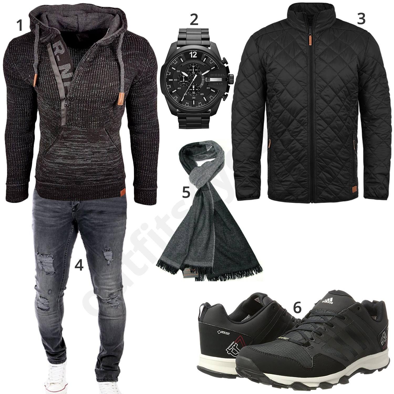 Grau Schwarzes Winteroutfit mit Kapuzenpullover | Roupa