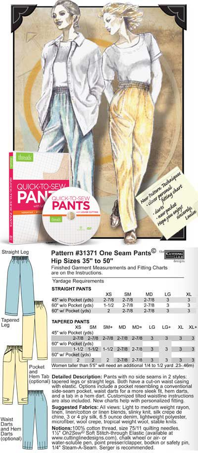 DVD Quick-To-Sew Pants - PLUS One Seam Pants Pattern (31371 ...