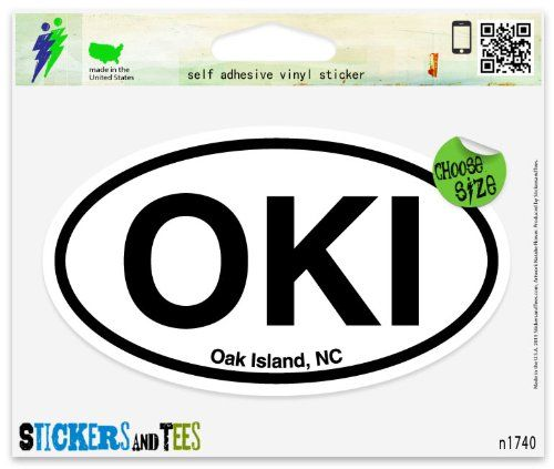 OKI Oak Island North Carolina Oval Vinyl Car Bumper Window Sticker 5