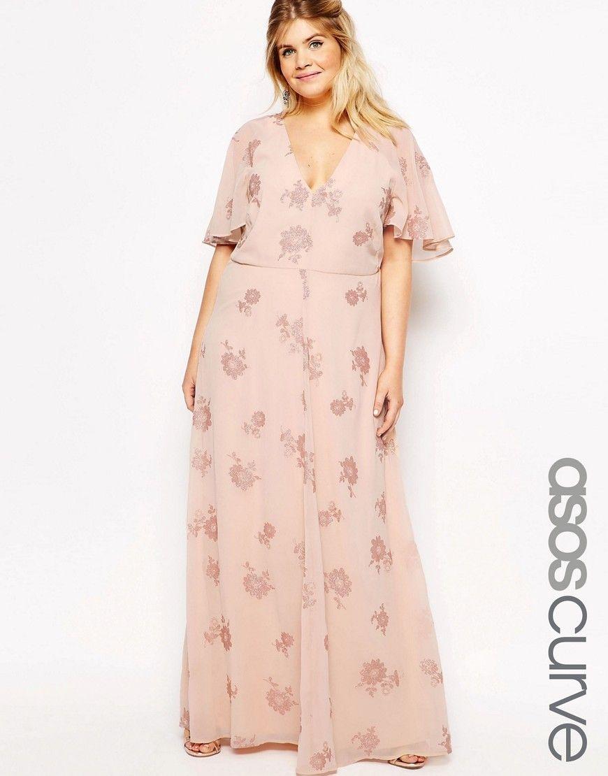ASOS+CURVE+Flutter+Sleeve+Maxi+Dress+With+Pretty+Lurex+Flower | Plus ...