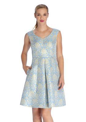 a85376ad76f5 Tahari ASL Metallic Jacquard Fit and Flare Dress | Products ...