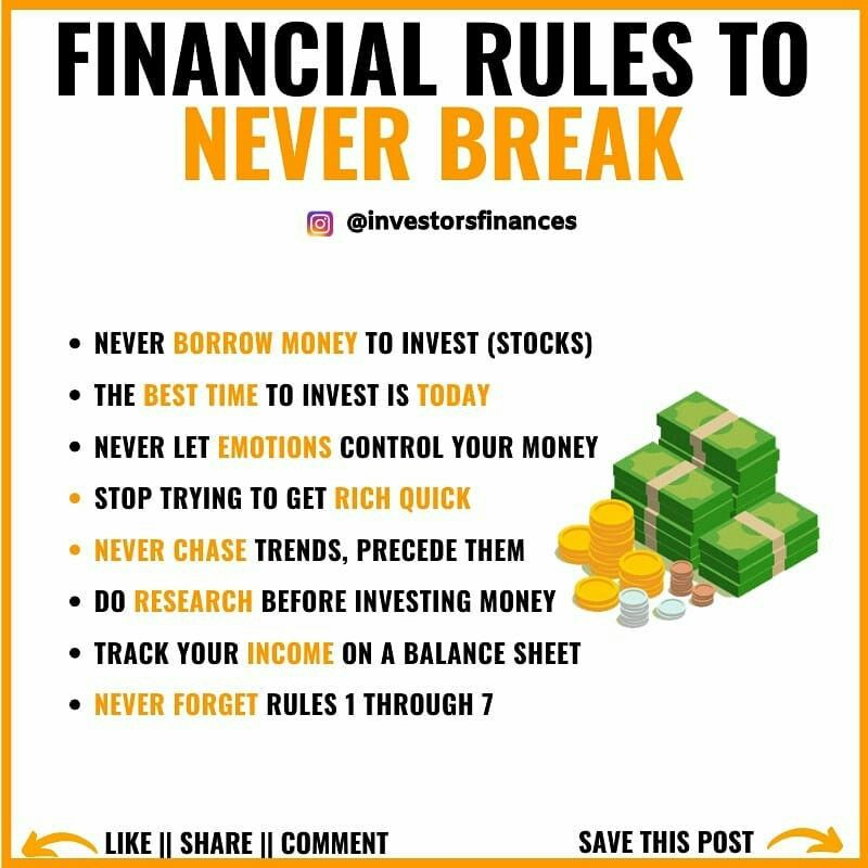 Financial Rules To Never Break Financial Motivation Investing Money Finance Investing