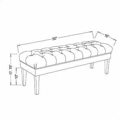 Pleasing Brookline Tufted 50 Dining Bench Chestnut Finish Ibusinesslaw Wood Chair Design Ideas Ibusinesslaworg