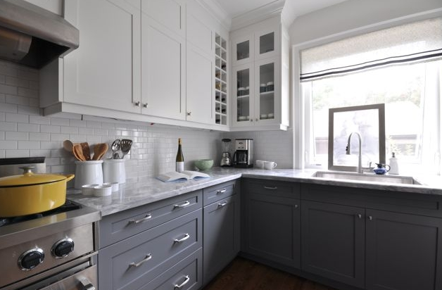 White upper cabinets gray lower for the home pinterest white subway tile backsplash - Creative ways upgrade grey kitchen cabinets beautifully ...