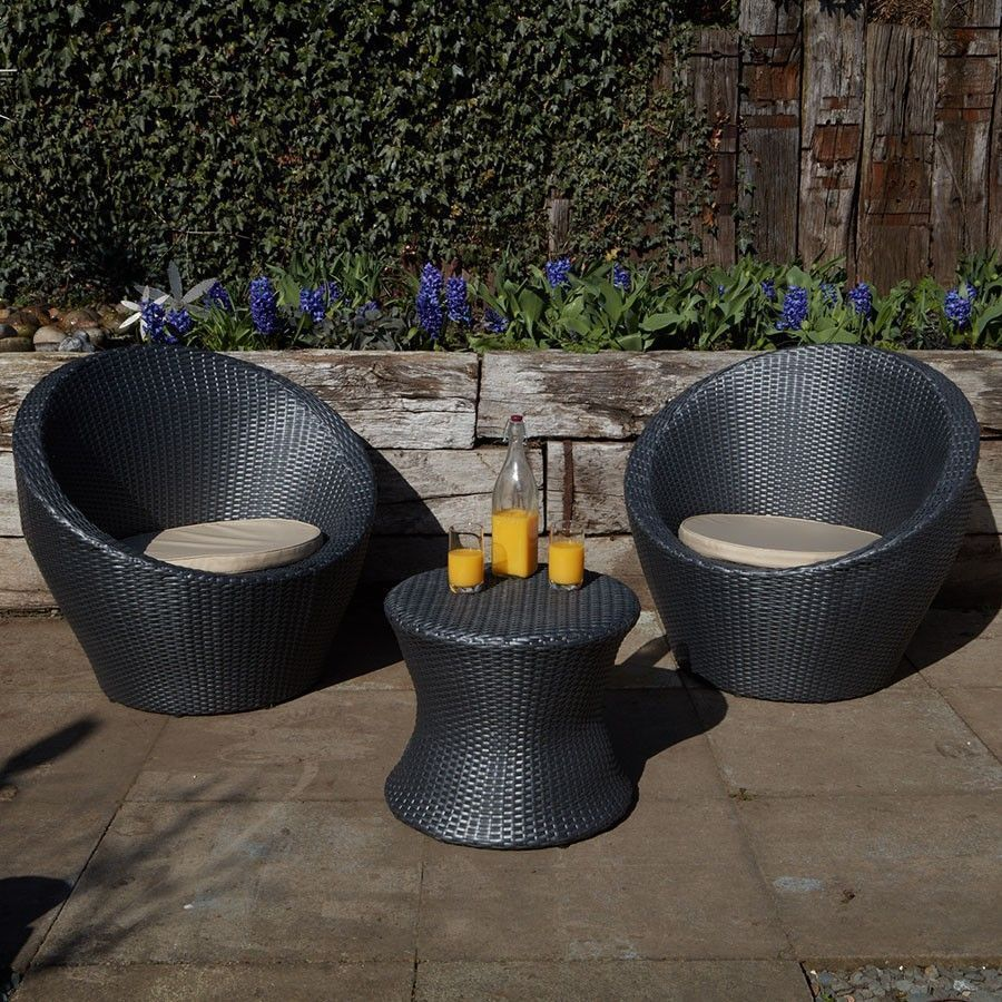 Rattan Egg Chair Set 2 Seater Garden Bistro Set Egg Design Rattan Wicker Grey Color