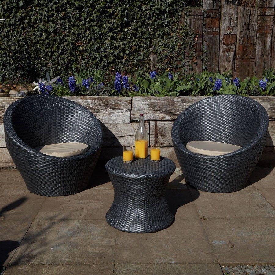 2 Seater Bistro Set Grey Rattan Round Table Egg Design Garden Outdoor Furniture Rattan Garden Furniture Outdoor Patio Furniture Sets Outdoor Garden Furniture