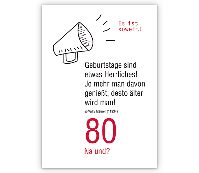 zum 80. geburtstag: es ist soweit! - http://www.1agrusskarten.de, Einladung