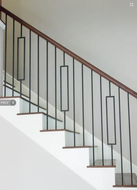 Iron Stair Balusters - Modern Rectangle Metal Spindles for Stairs - Satin Black Hollow Core Wrought Iron