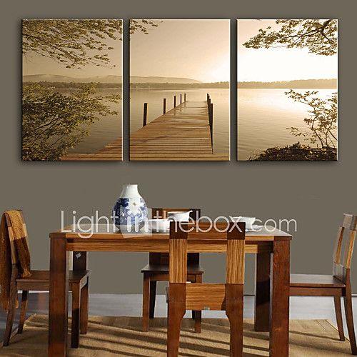 Paysage Classique Traditionnel,Trois Panneaux Verticale Imprimer Art