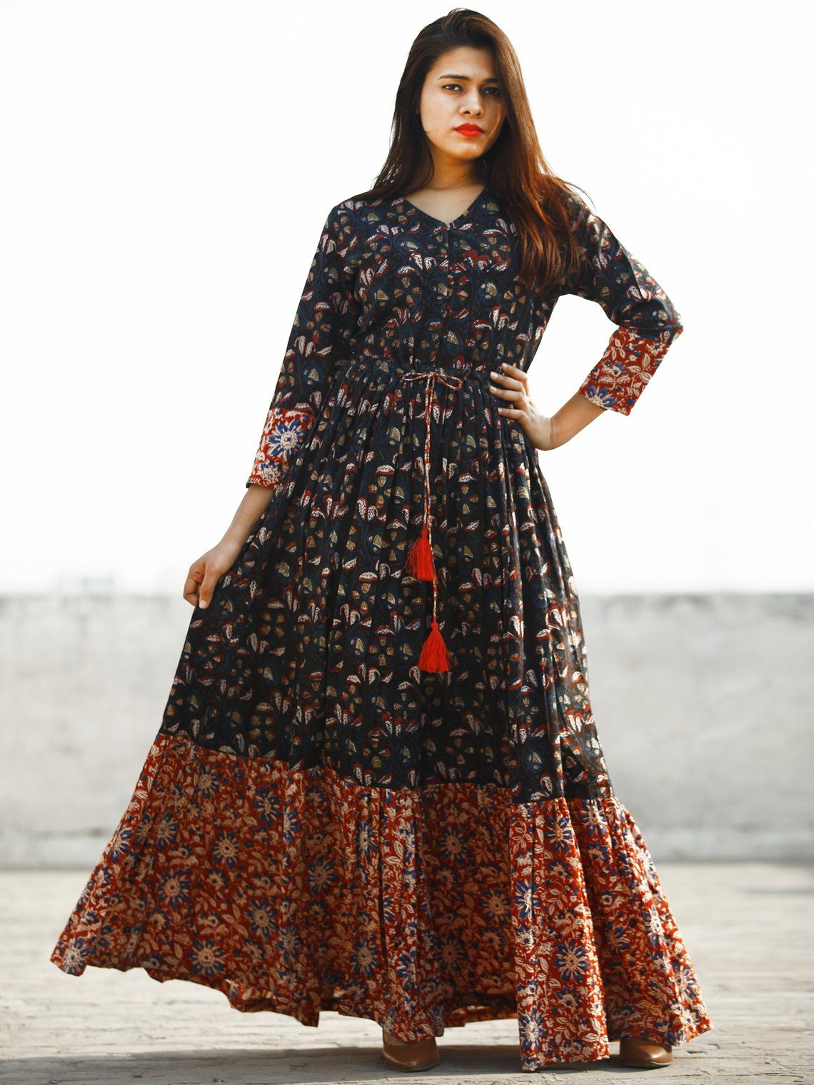 d709d7db8 Indigo Brown Red Hand Block Printed Long Cotton Tie Up Waist Dress -  D170F1139