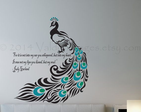 Love This Peacock Wall Decal W/ Judy Garland Quote. 💗