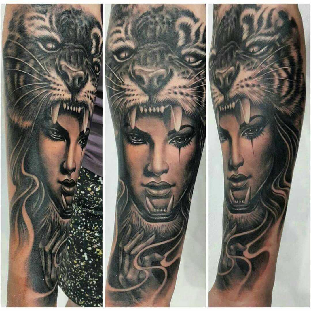 1c8181d85 Girl with tiger hat | tattoos | Tattoos, Body art, Half sleeves