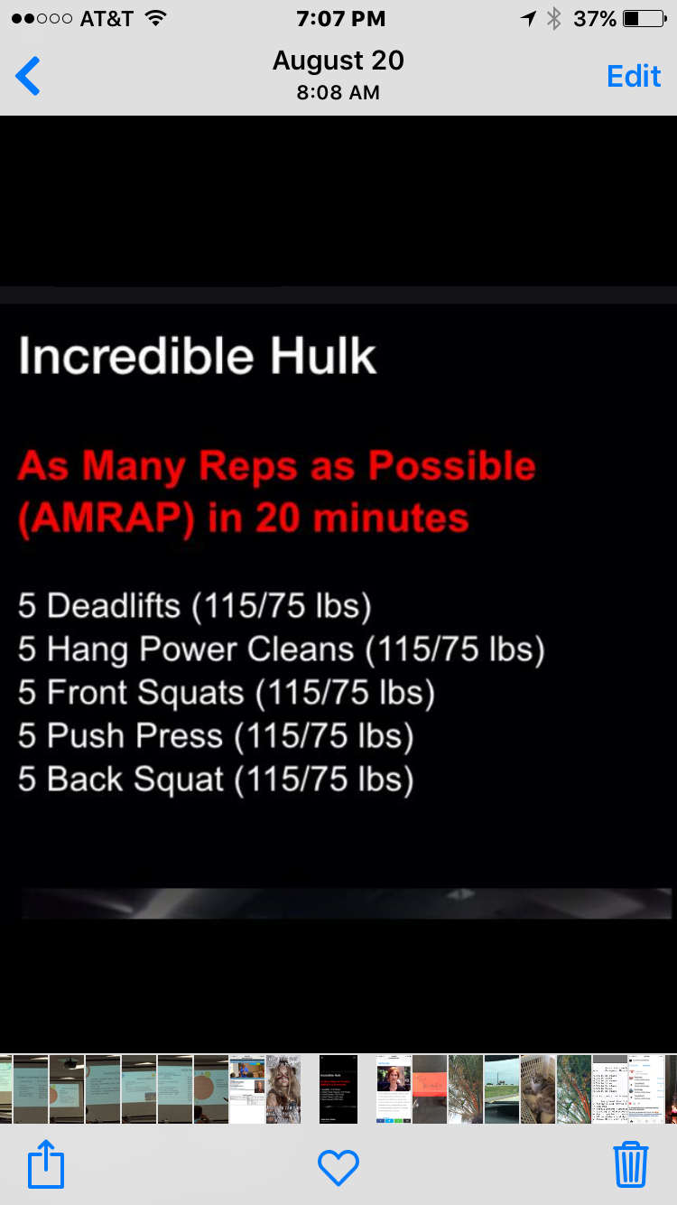 I feel like the Incredible Hulk should be heavy... but I still want to do this. Barbell cycling is my jam.