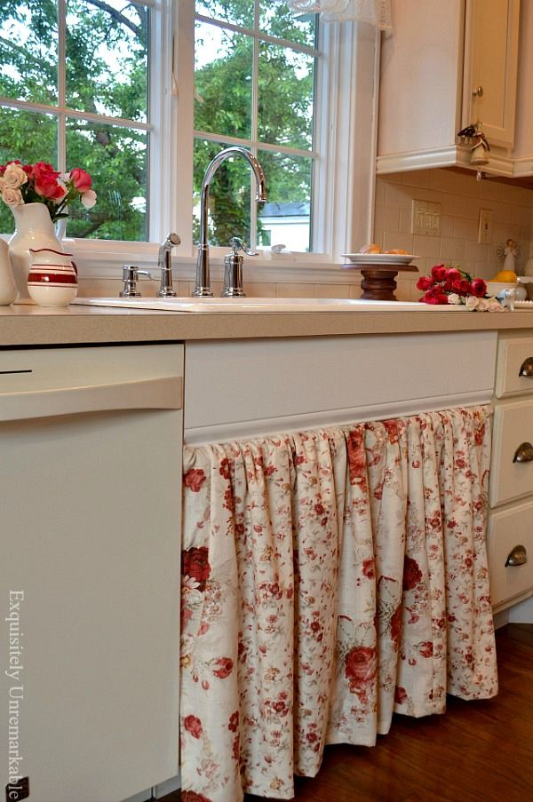 Easy To Open Kitchen Sink Skirt Kitchen Sink Diy Sink Skirt Replacing Kitchen Countertops
