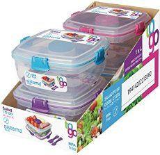 Sistema To Go Collection Salad Food Storage Container, 37 Ounce/ 4._.6 Cup, Blue or Lime or Pink or Purple