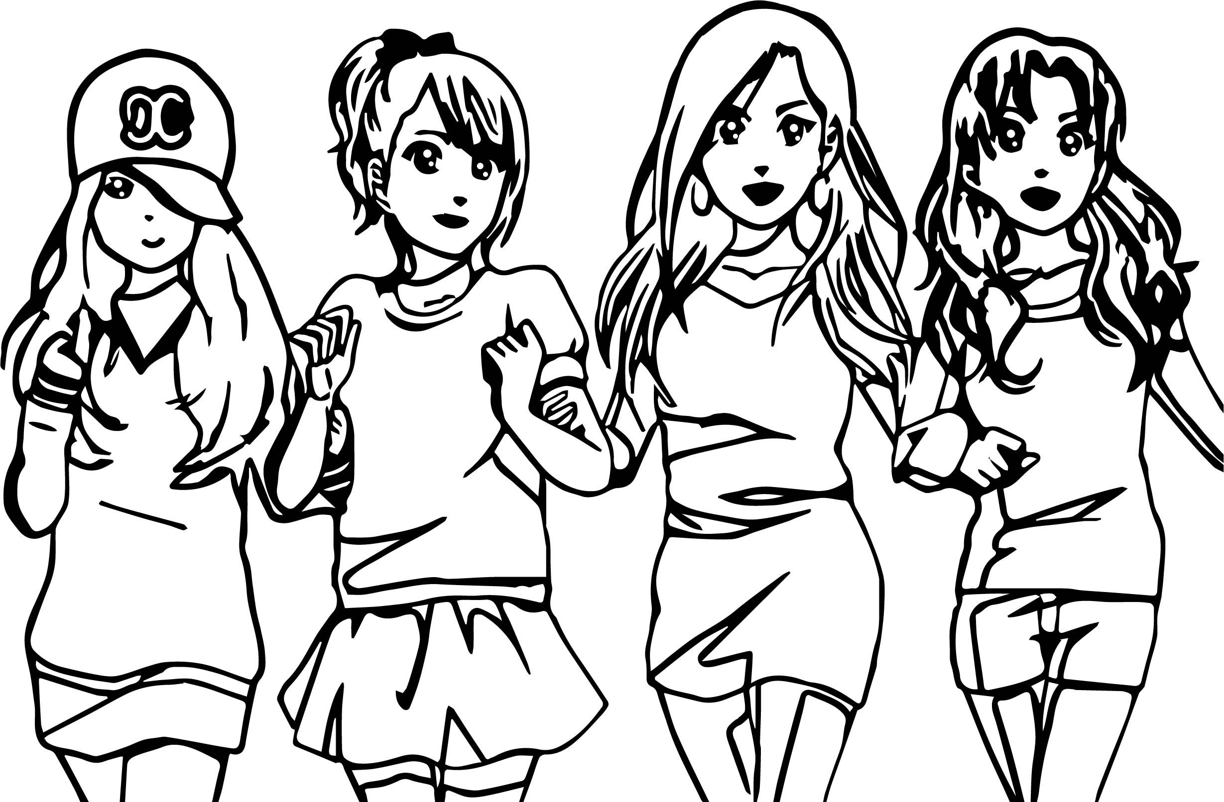 Awesome Four Anime Best Friends Forever Coloring Page
