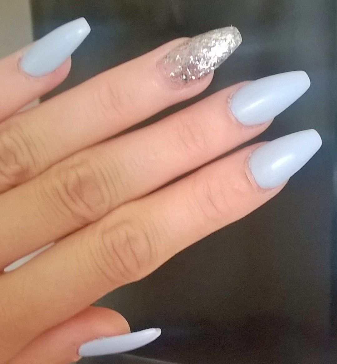 Baby Blue Matt Finish Coffin Shape With Glittery Silver Ring Finger Everyday Nails Blue Nails Prom Nails Silver Trendy Nails