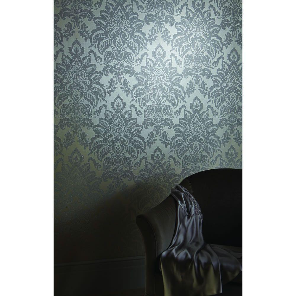 Arthouse Glisten Platinum Grey Wallpaper Silver