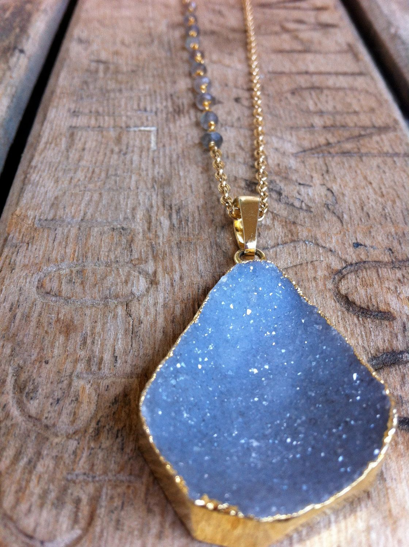 Joy Dravecky Jewelry | Gold Plated Gray Druzy Necklace | $78.00, via Etsy. Now at square salon
