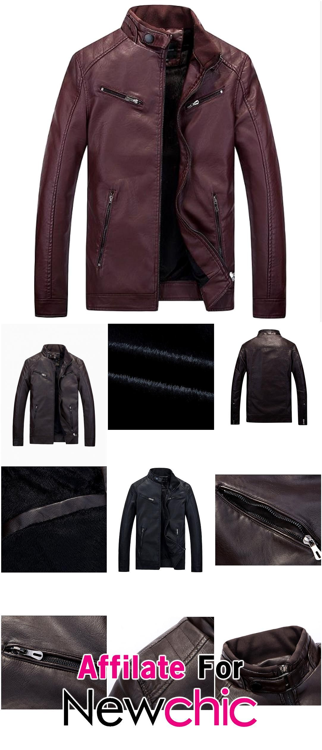 Thick Fleece Motorcycle PU Leather Double Chest Pockets