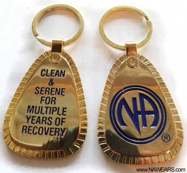 30+ yr clean Narcotics Anonymous 30 year  MOON GLOW KEY TAG NA