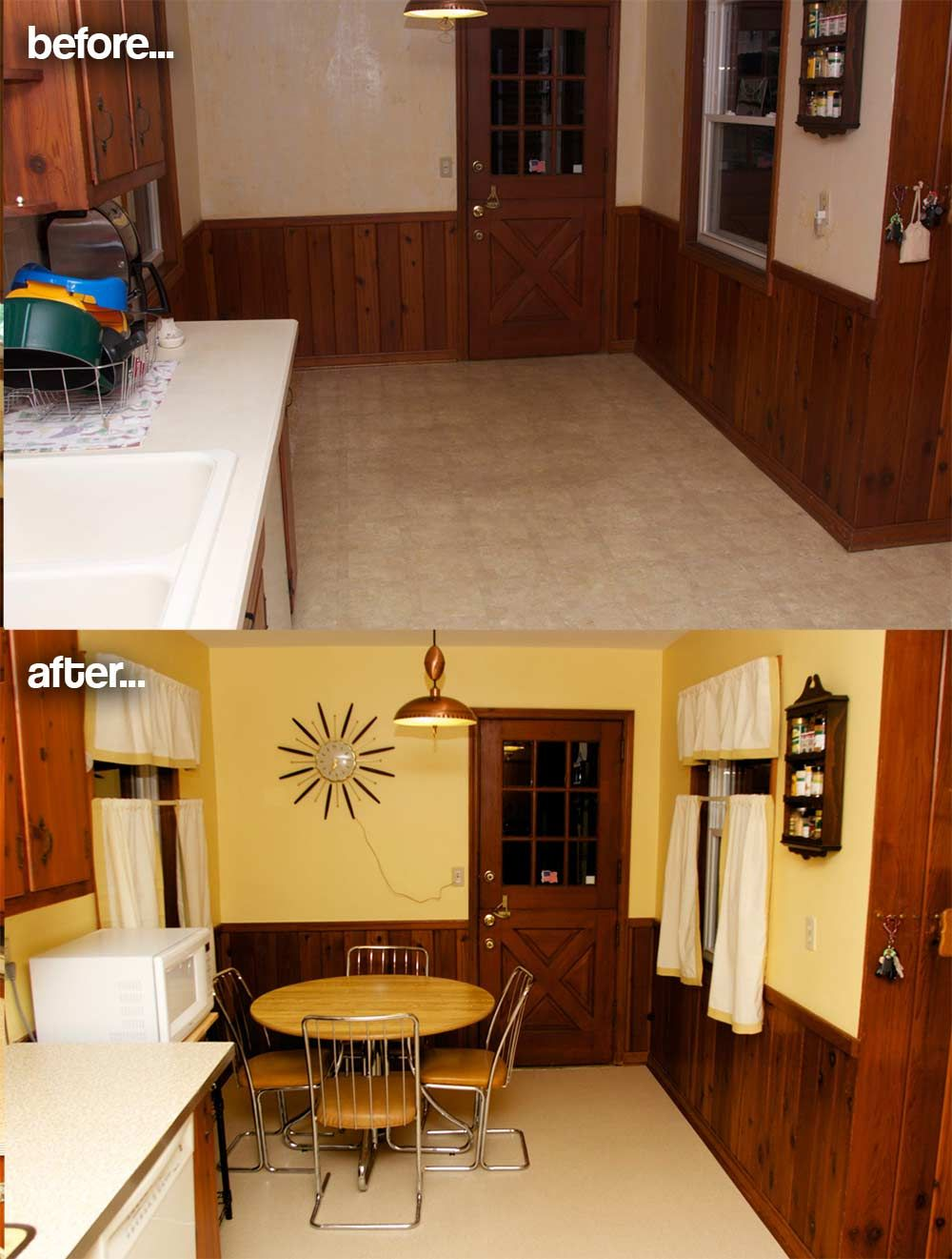 amber s 1961 knotty pine kitchen before and after pinterest
