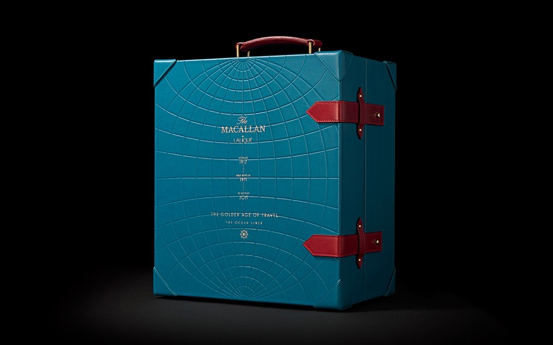 Golden age of travel burgess studio whisky packaging