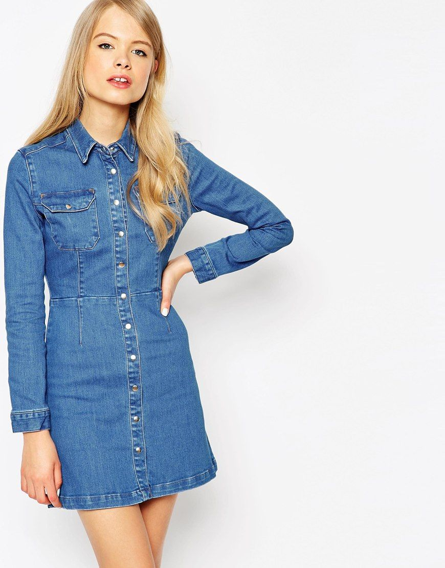 Image 1 of ASOS Denim Western A-Line Shirt Dress | wants | Pinterest ...