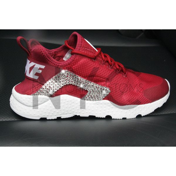 Nike Air Huarache Ultra Noble Red Blinged Out Swarovski Crystal ( 175) ❤  liked on 7df6b321a