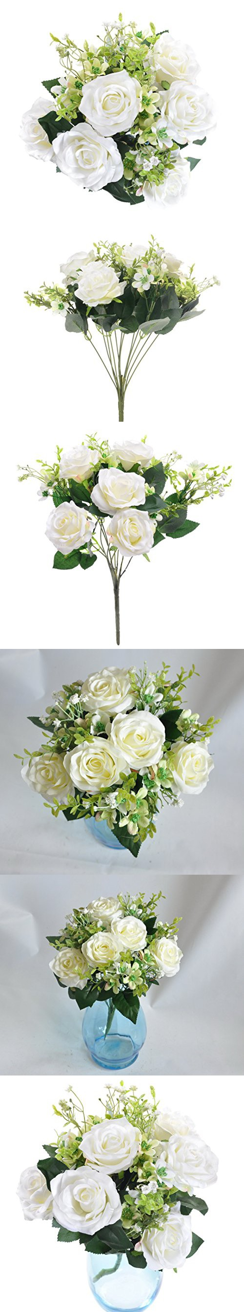 Artificial 17†Rose Flower Bouquet 12 Heads Flowers for Home Party ...